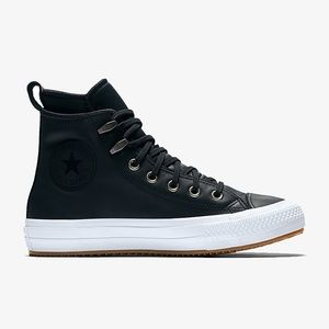 Converse Black Leather Waterproof High Tops US 5.5
